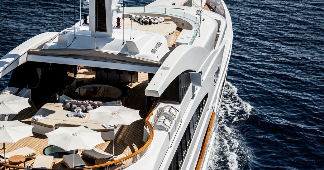 benetti superyacht st david aerial shot of deck