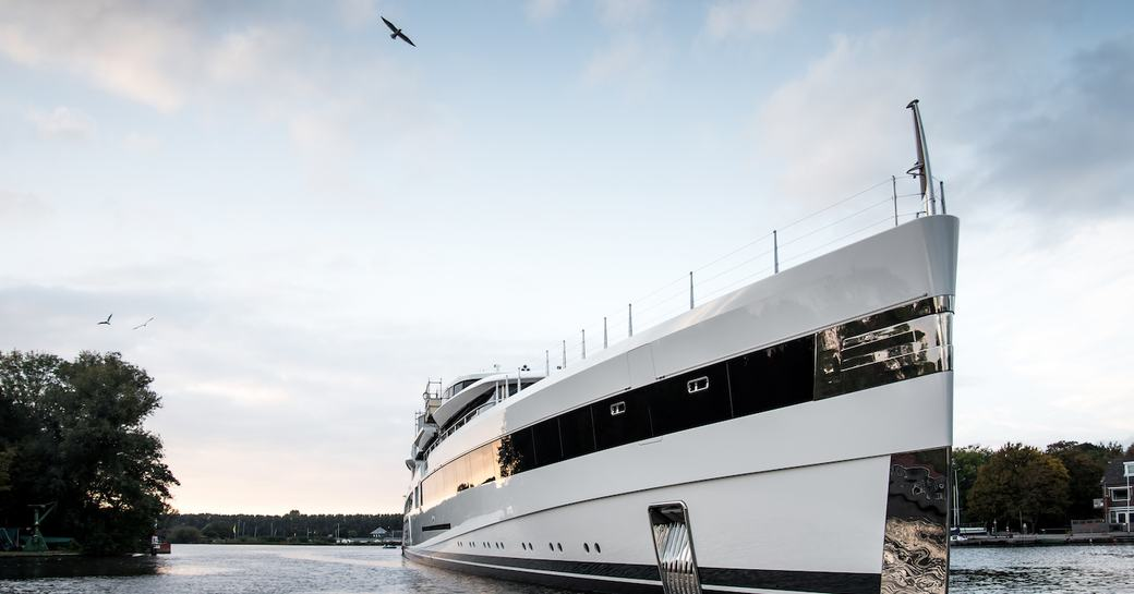 Lady S charter yacht profile shot of bow