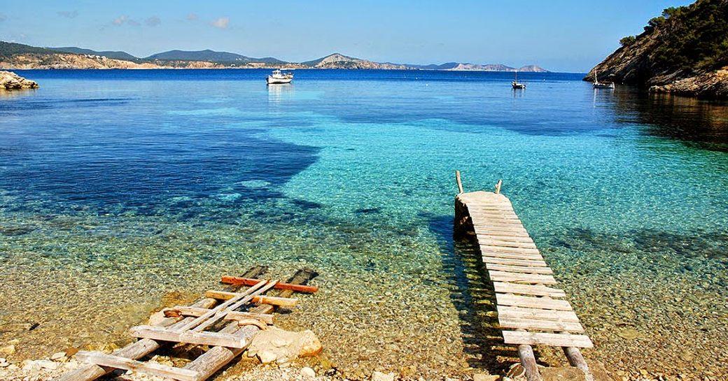 Cala Llentrisca beach in Ibiza in the Balearics