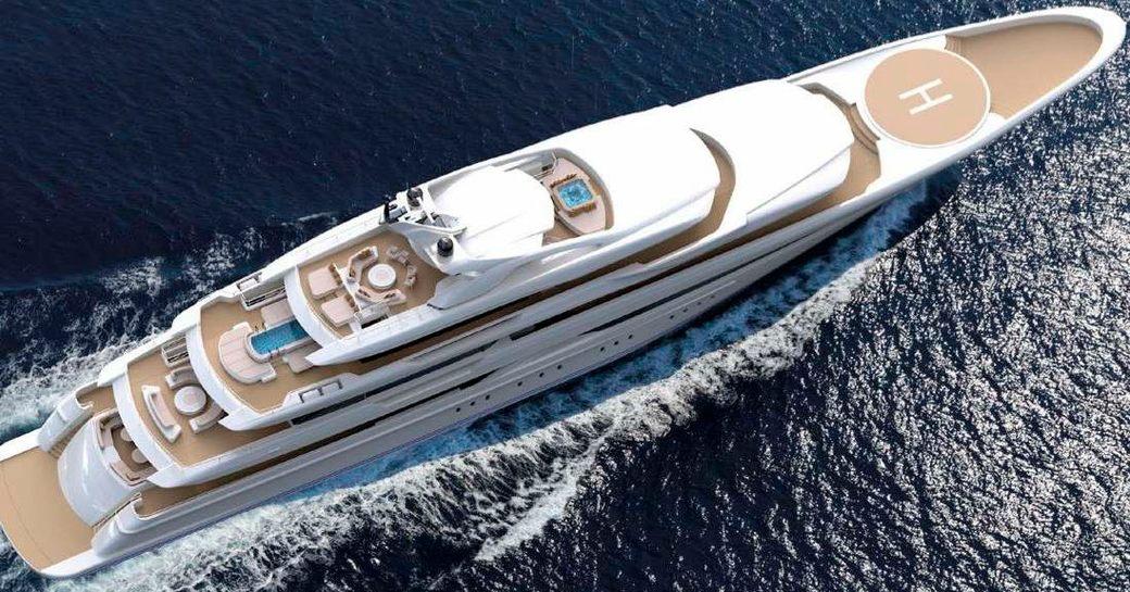 Aerial shot of superyacht O'Pari underway in the Mediterranean