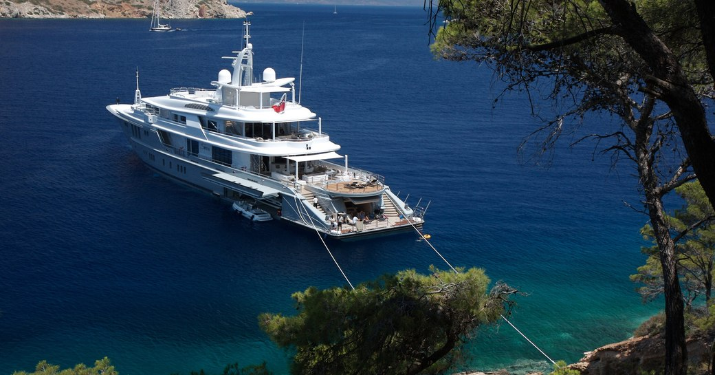 yacht moored to allow social distancing