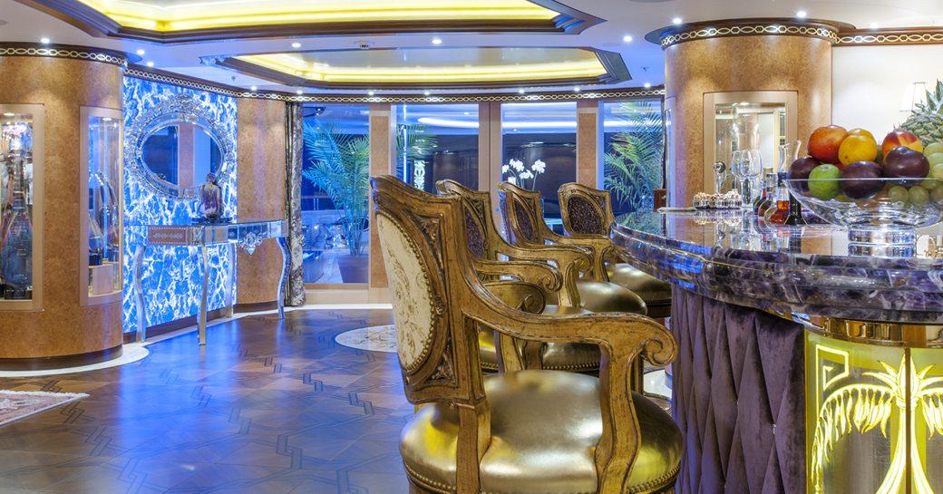 Superyacht SOLANDGE main salon and lit up panels