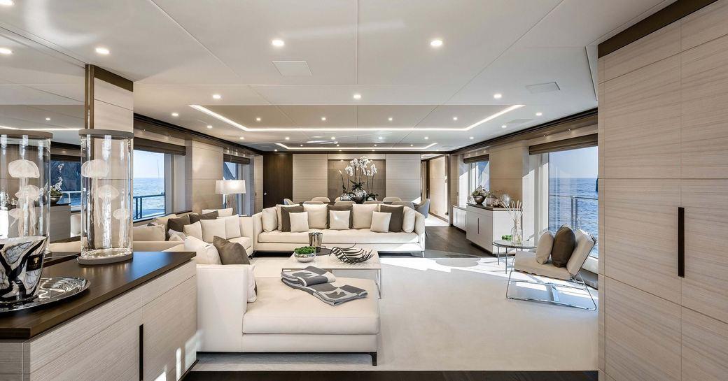 main salon on benetti charter yacht jacozami