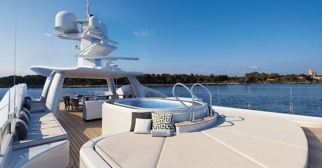 megayacht galene sundeck with jacuzzi pool
