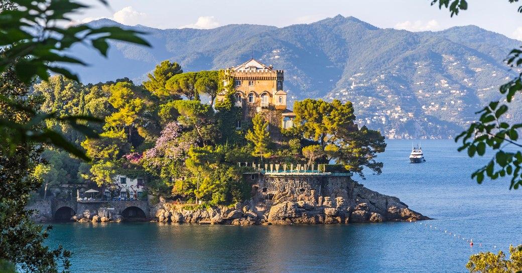 Beautiful natural view of the Bay of Paraggi in Santa Margherita Ligure