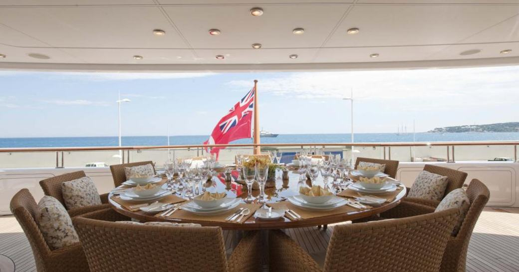 Outdoor deck area for charter guests to enjoy meals