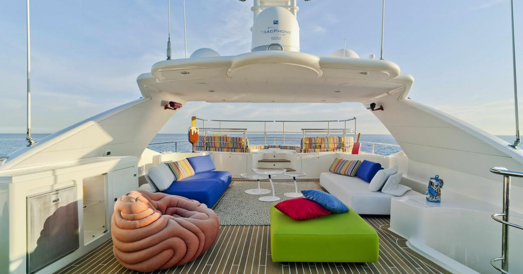 bunker sundeck with soft seating and jacuzzi in background