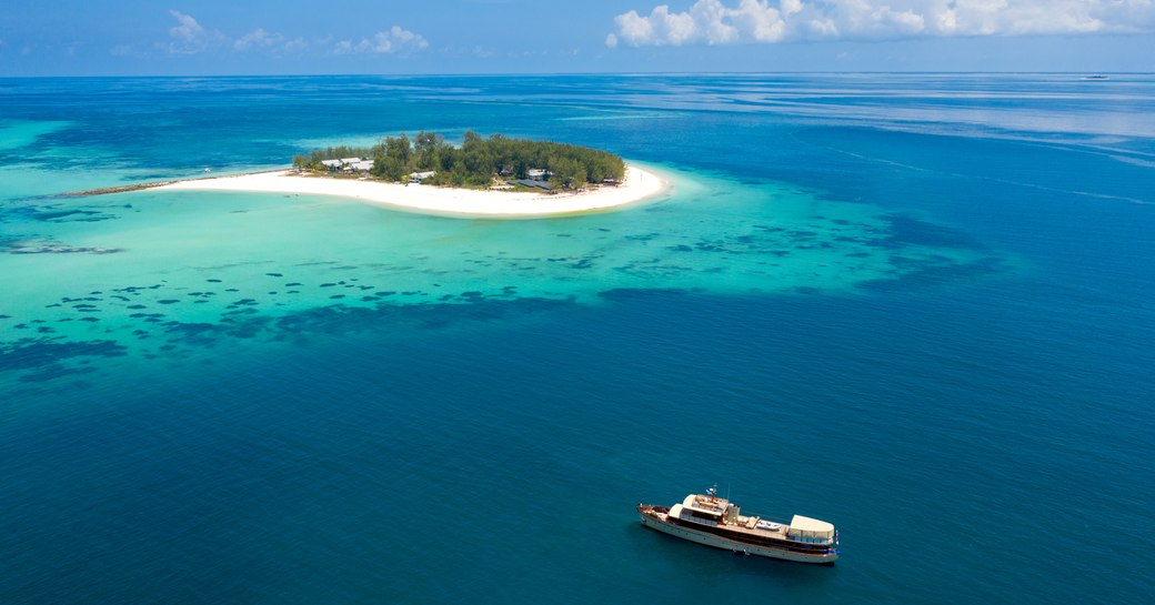 Yacht next to Thanda Island in East africa