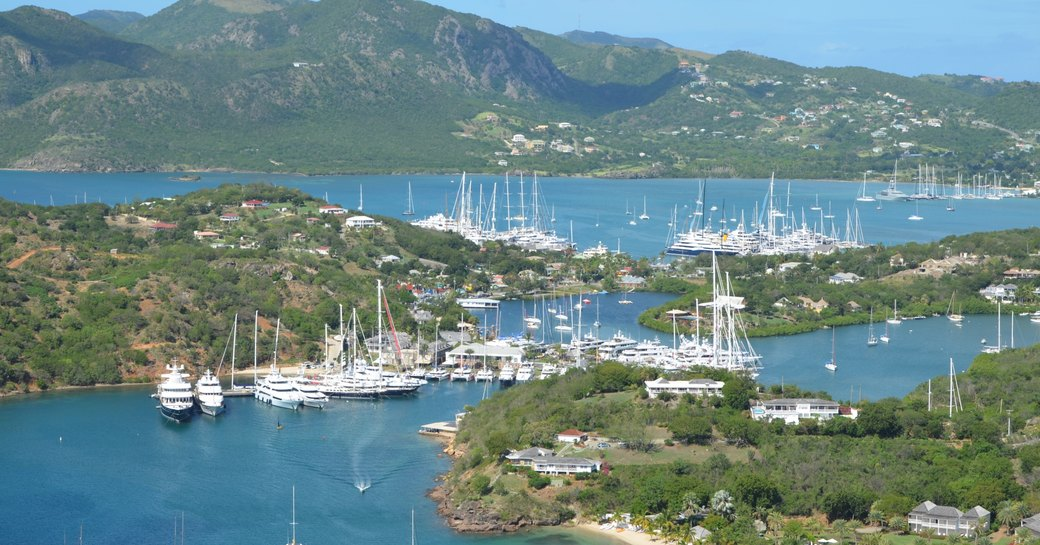aerial view of the Antigua Charter Yacht Show in Antigua