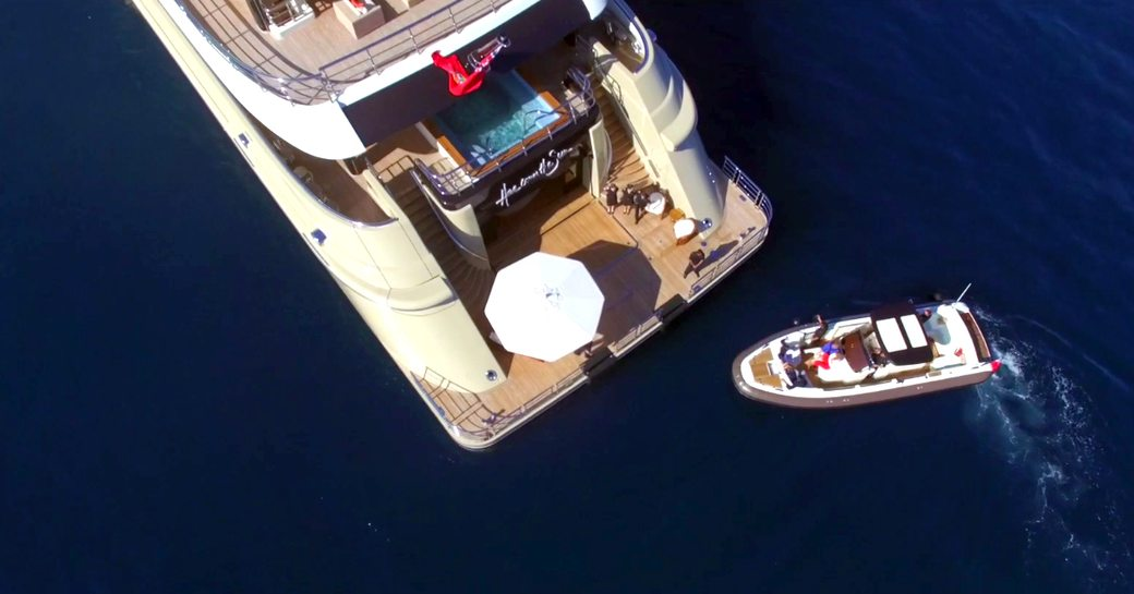 An aerial photograph of superyacht Here Comes The Sun