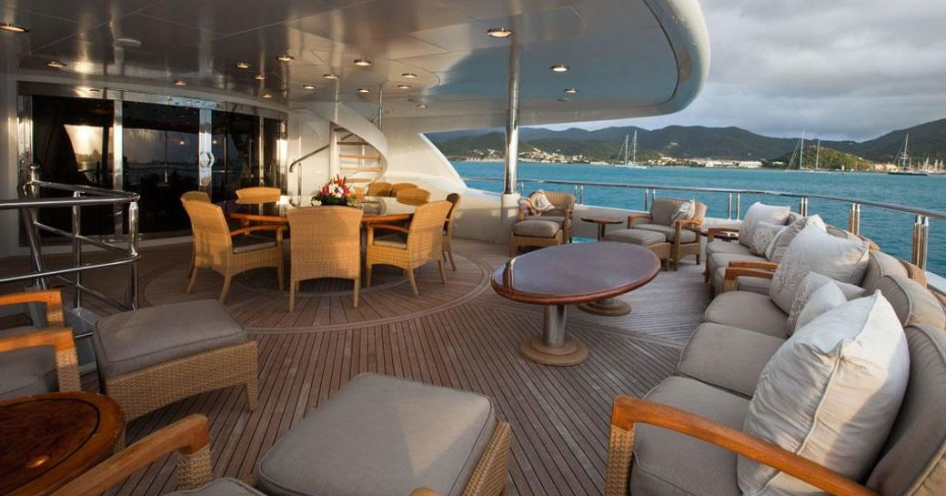 The alfresco dining spaces on board luxury yacht 'Zoom Zoom Zoom'