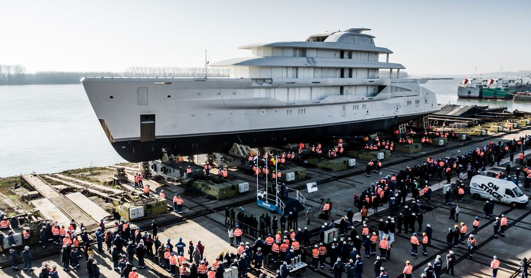 Launched: Largest fully-custom Amels  yacht hits the water photo 1