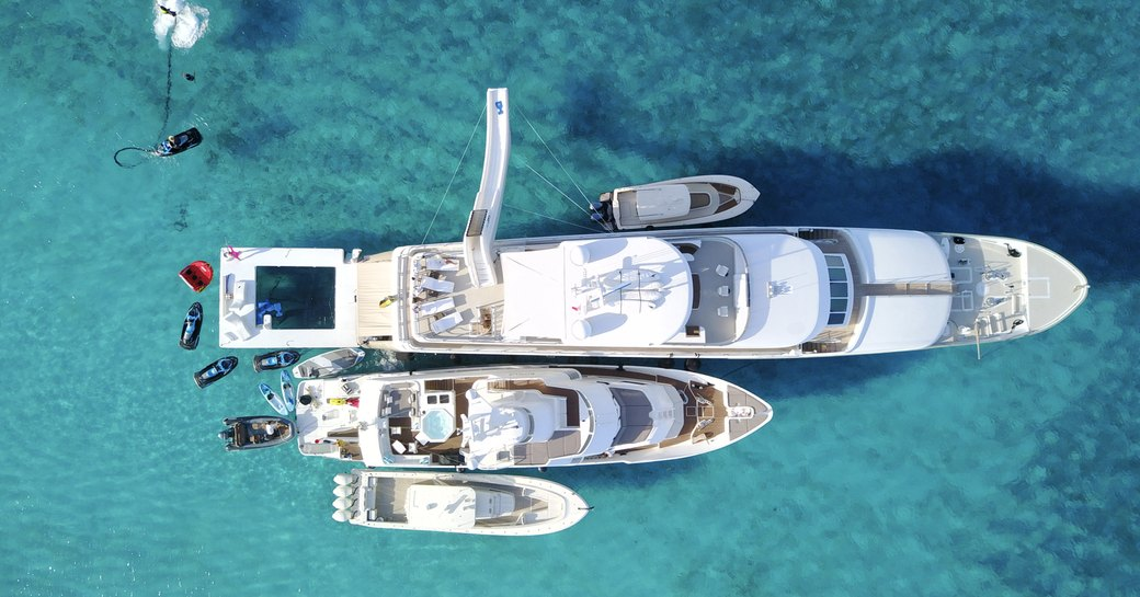 View from above of superyacht ZEAL