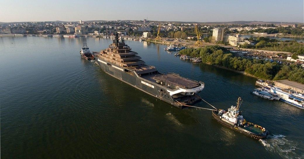 Aerial image of superyacht REV