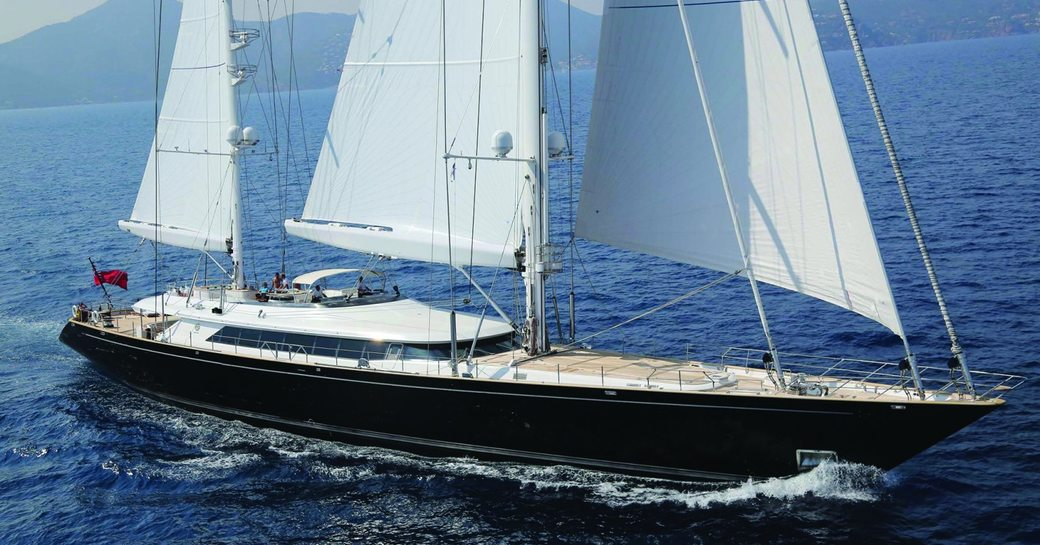 Side view of superyacht Parsifal III underway, surrounded by sea
