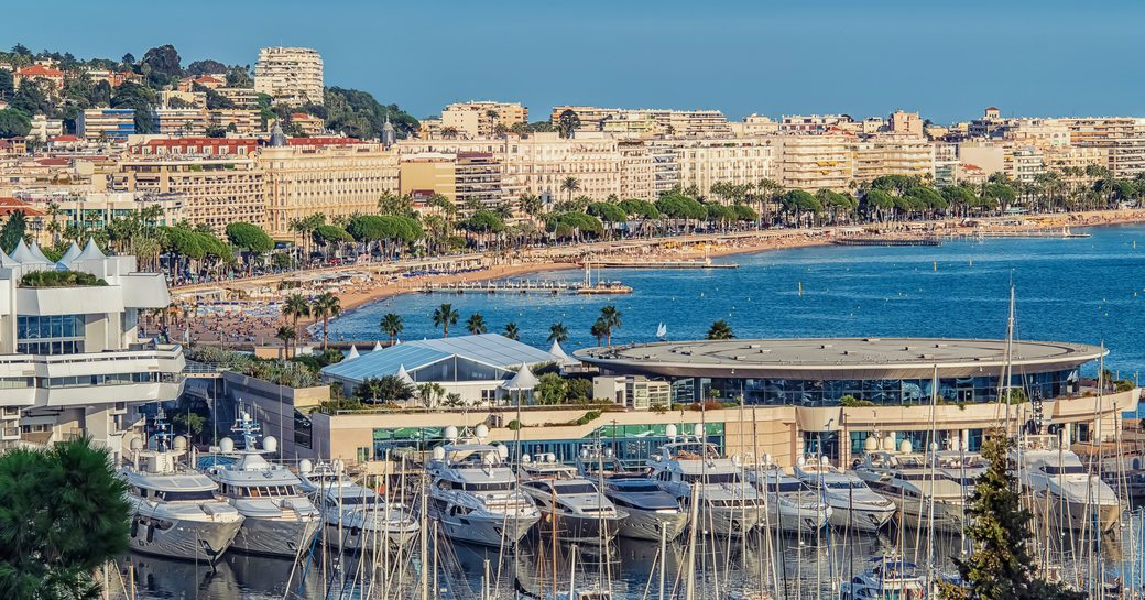 Overview of Cannes coastline, with multiple yachts moored in foreground.