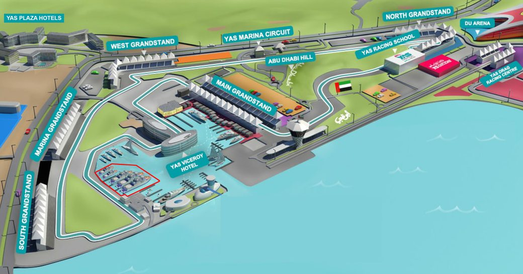 map of Yas Marina and the Yas Marina Circuit in preparation for the Abu Dhabi Grand Prix