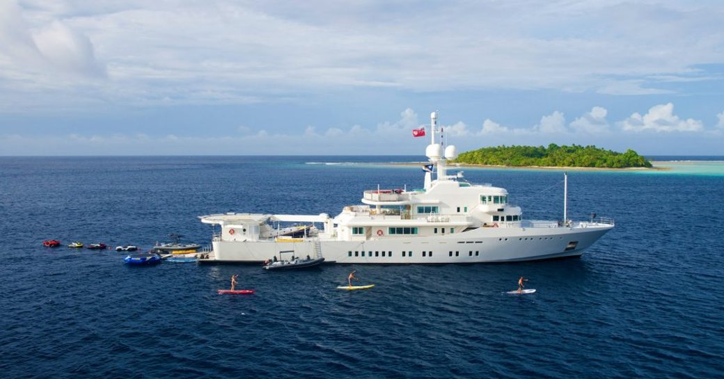 expedition yacht SENSES docked with water toys on a luxury yacht charter
