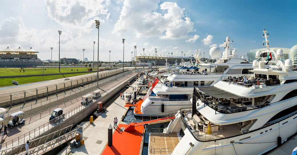 superyachts berth in Yas Marina with track-side views for the Abu Dhabi Grand Prix