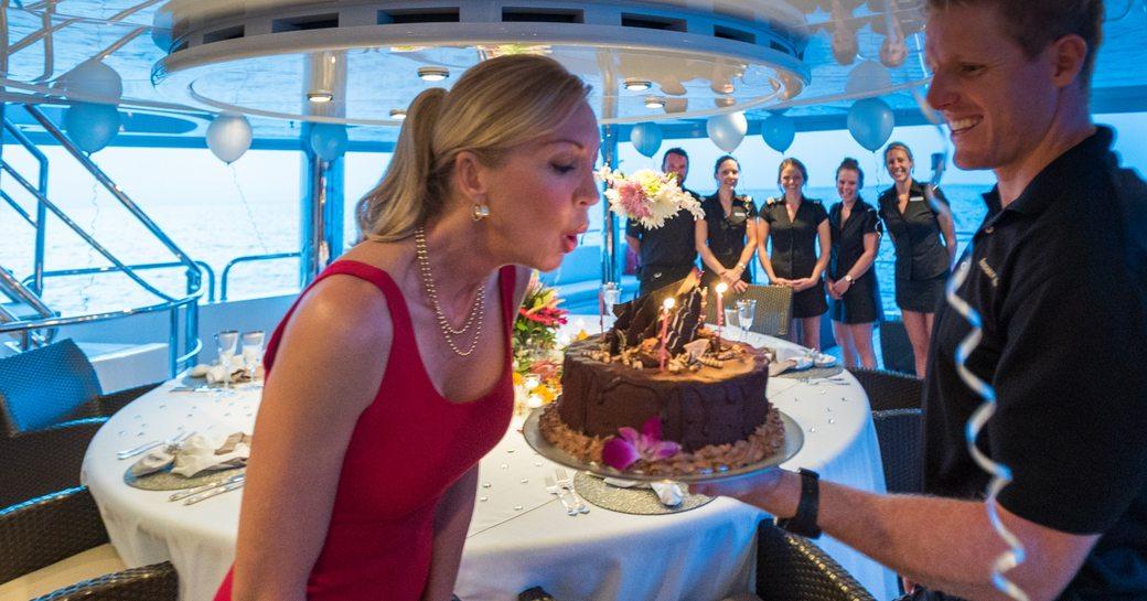 birthday celebration on luxury yacht