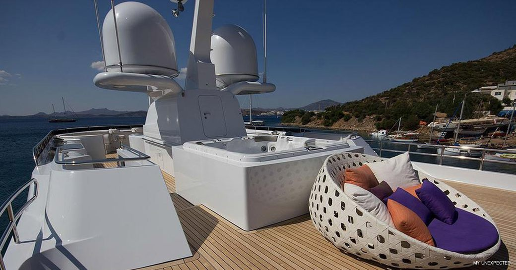 Sundeck jacuzzi onboard MY Unexpected