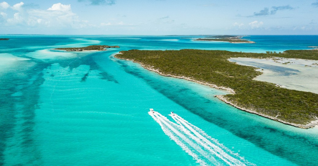 bahamas aerial view with two boats