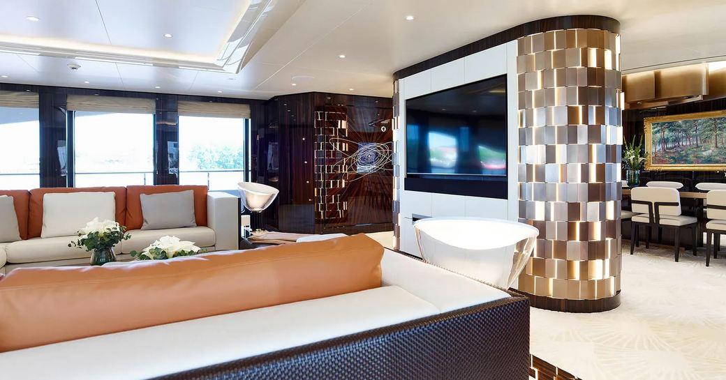 elegant master salon on soaring yacht