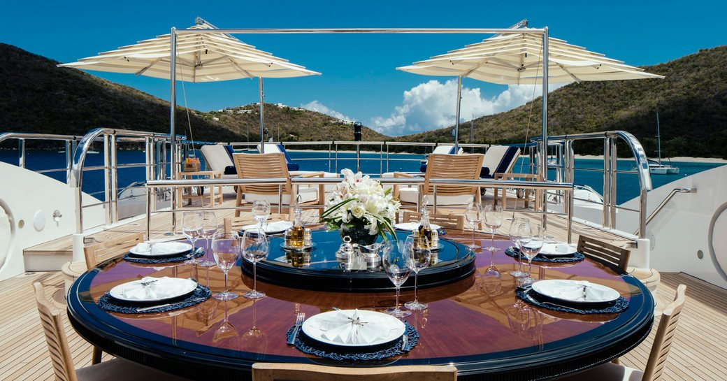 alfresco dining on sundeck aboard superyacht MEAMINA