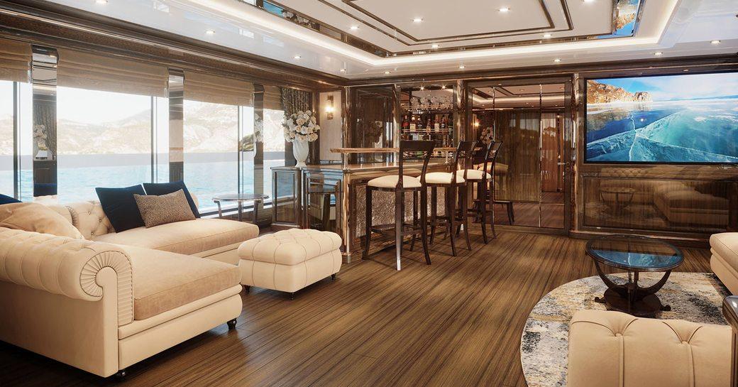 lady lena luxury yacht main salon with bar