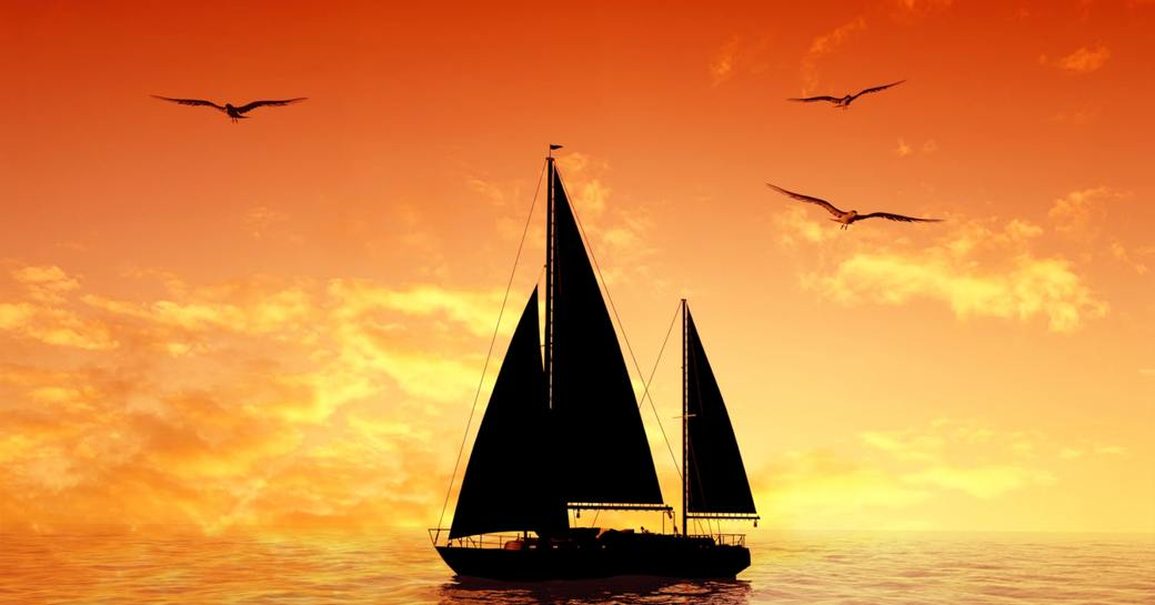 sailing yacht against the sun