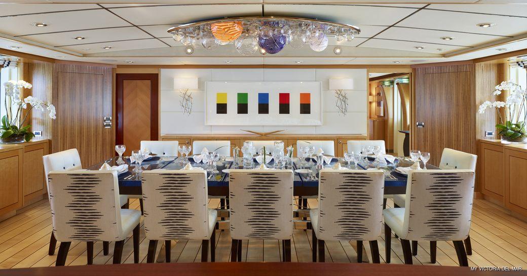 Formal dining area onboard MY Victoria del Mar