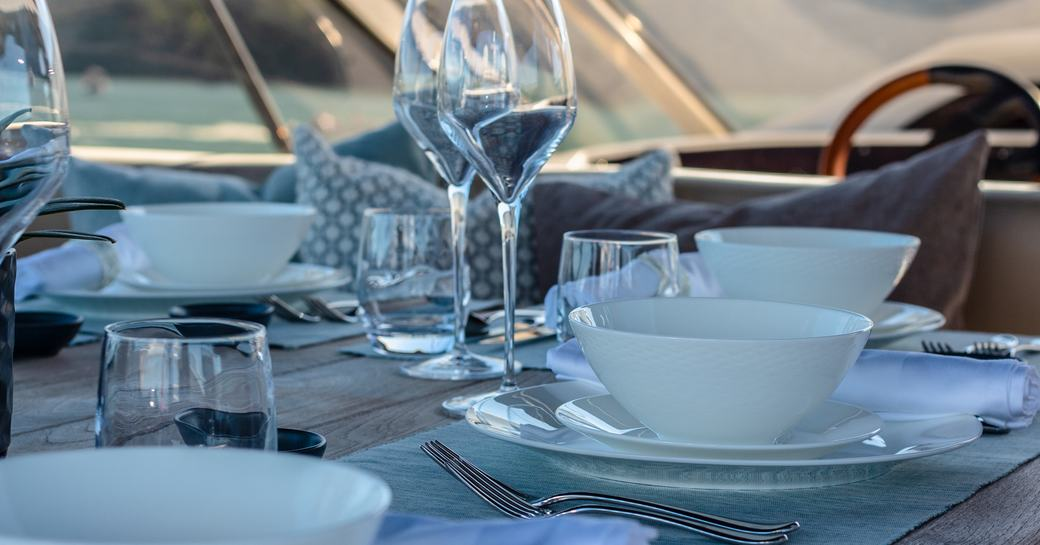 table setting on superyacht chess