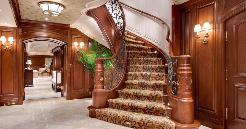 Magnificent staircase on board AQUILA
