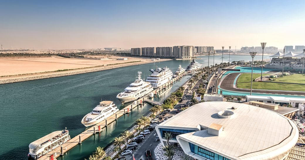 larger superyachts line up in Yas Marina visitor berths for the Abu Dhabi Grand Prix