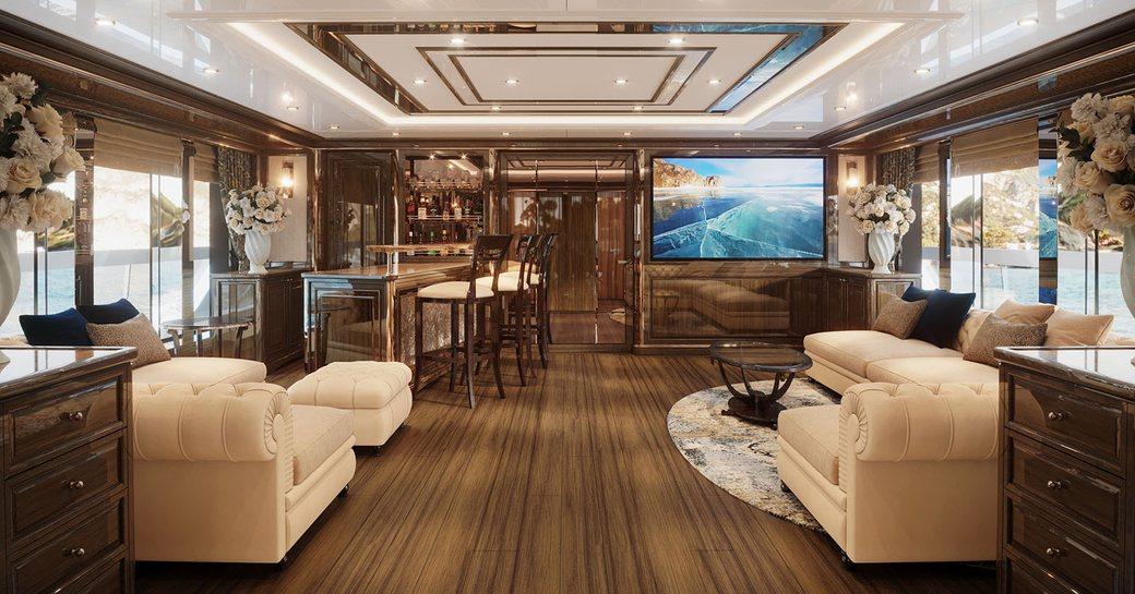 Lavish skylounge on yacht Lady Lena