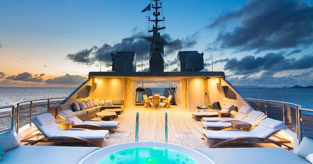 Superyacht O'Mega sun loungers