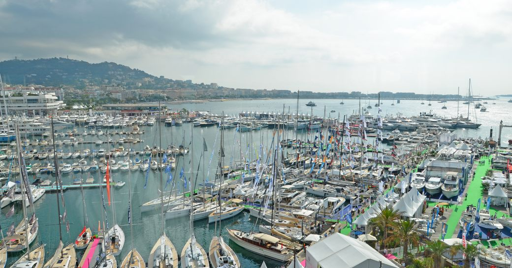 Yachts in the harbour at cannes yachting festival