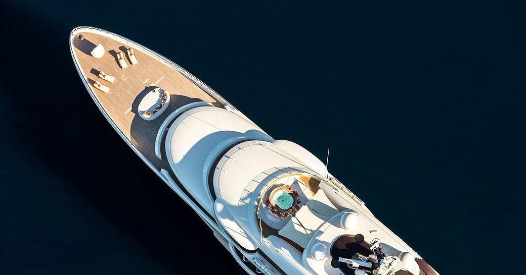 aerial shot of superyacht 'Here Comes The Sun'