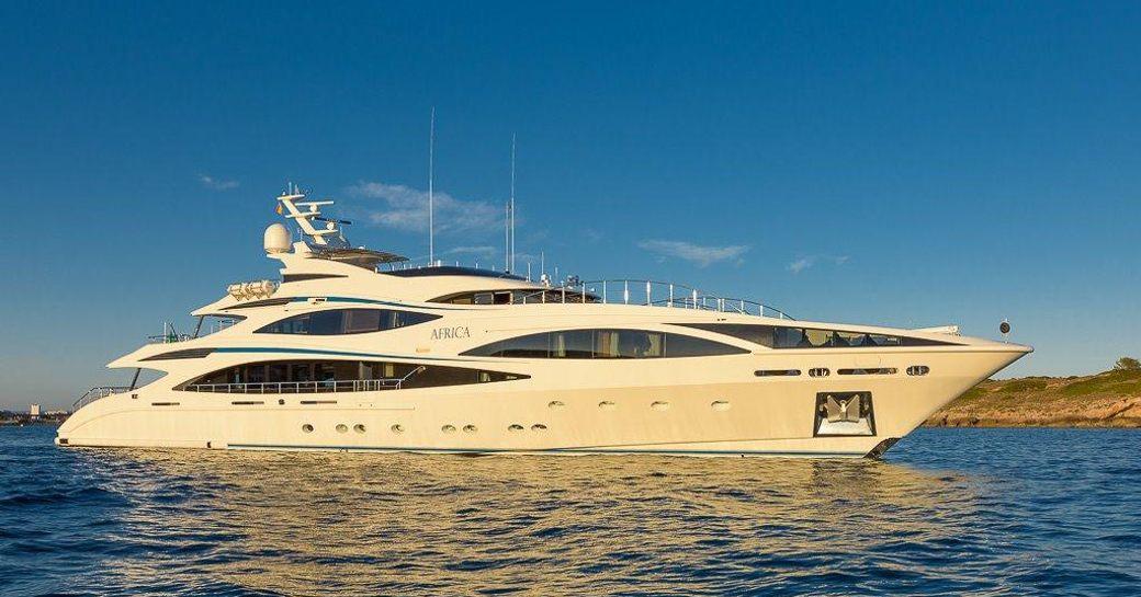 Luxury yacht 'Africa I' underway in the sunshine