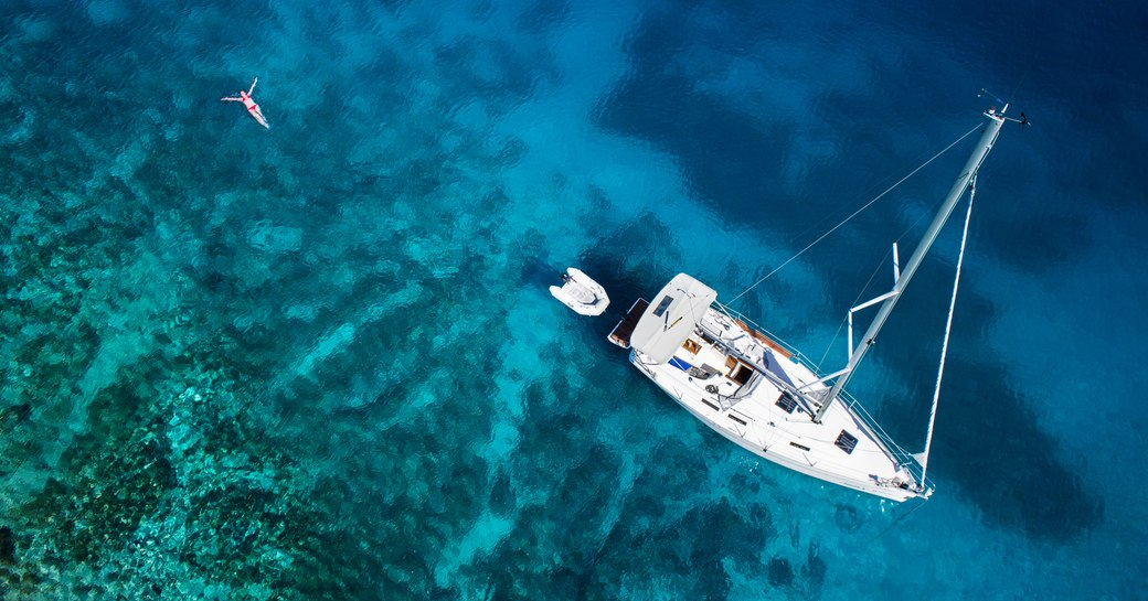Yacht in Bequia in the Caribbean