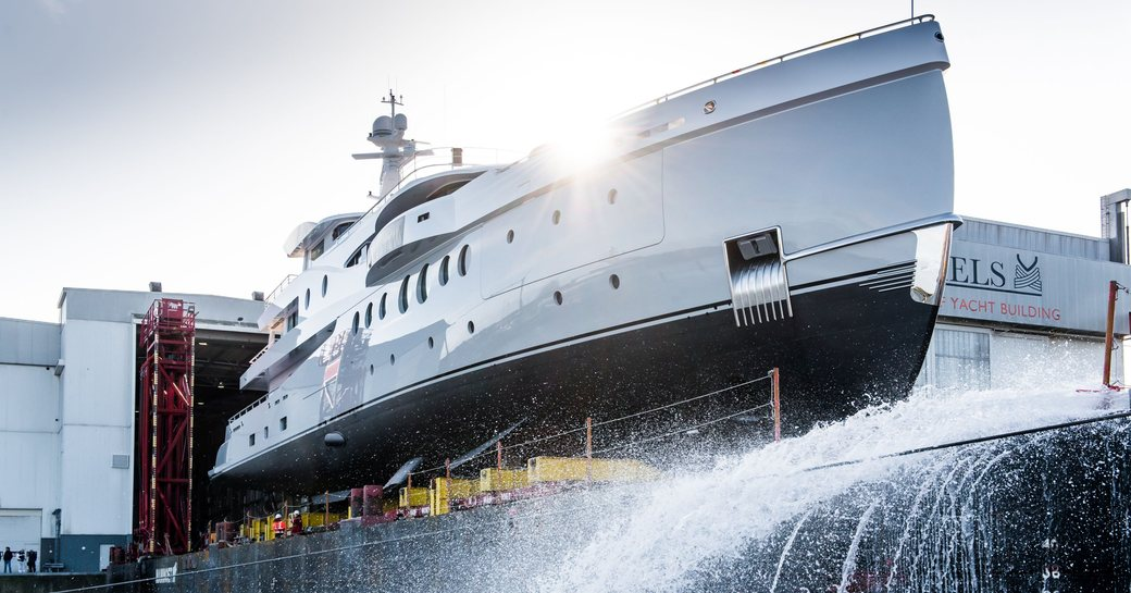 amels yacht stardust hits the water in vlissingen