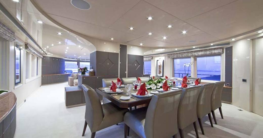 dining room on superyacht of daloli