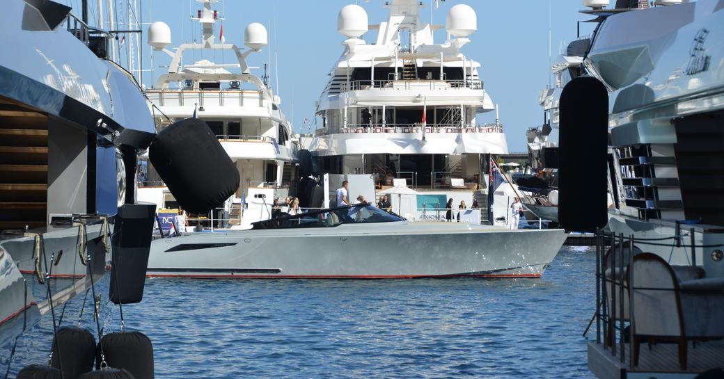 Superyachts in the port at Monaco Yacht Show