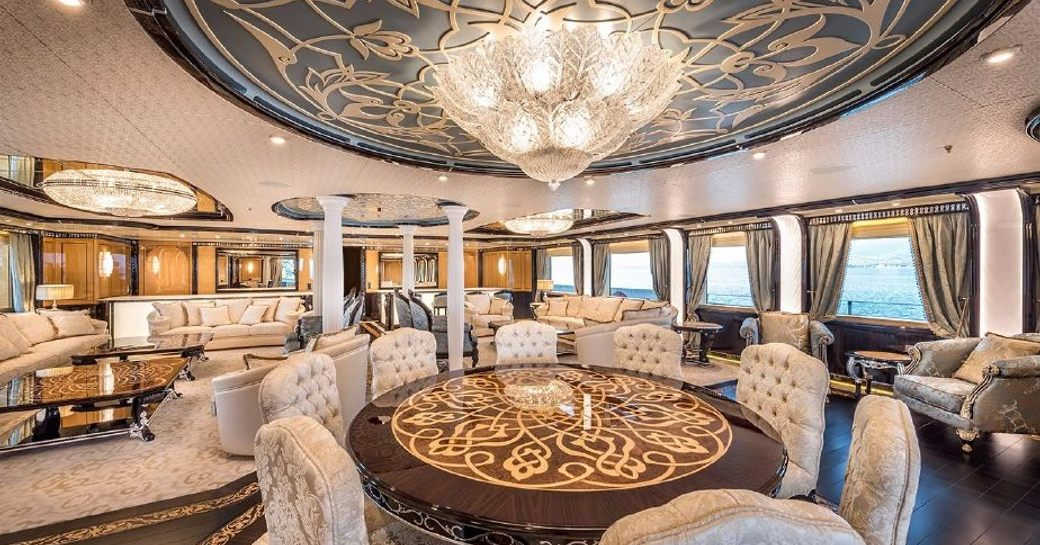 superyacht elements main salon with crystal chandelier