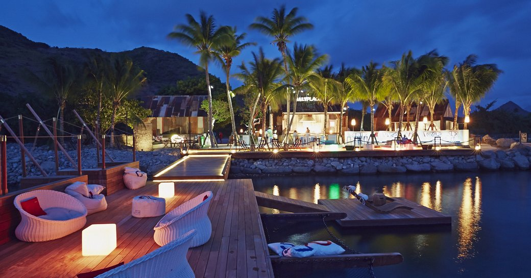 nighttime at Beach bar in St Kitts