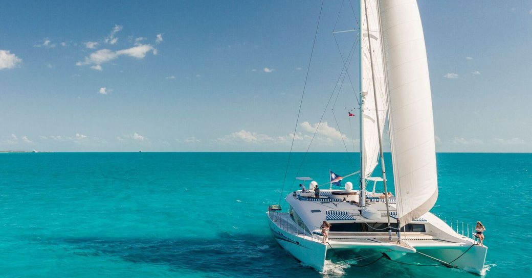 blue gryphon sailing cat in the bahamas