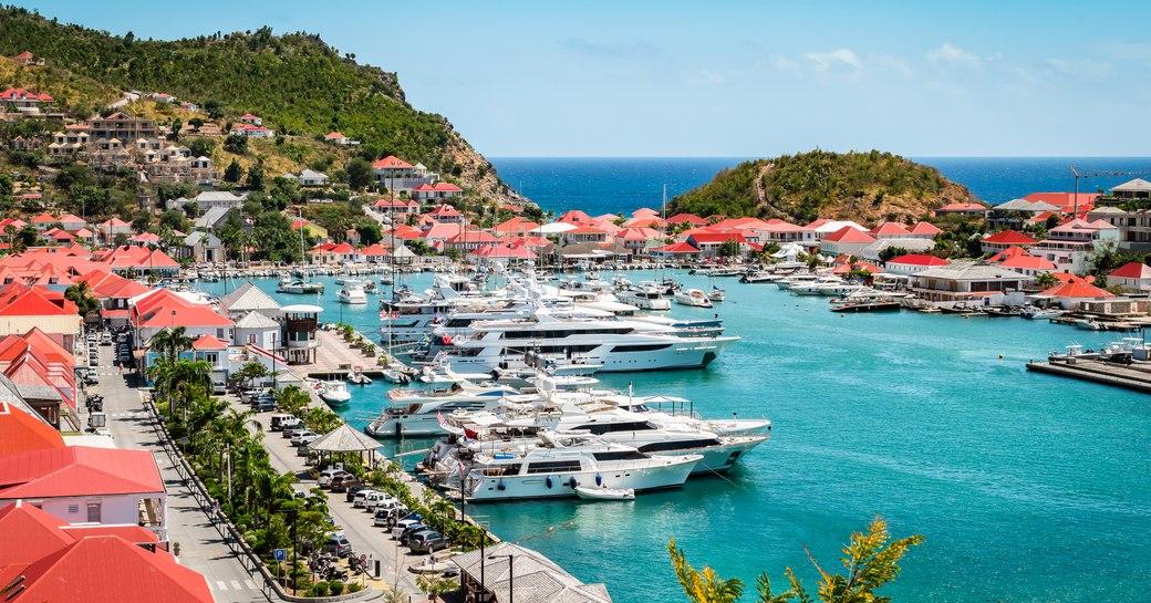 Luxury yachts in harbor, West Indies, Caribbean