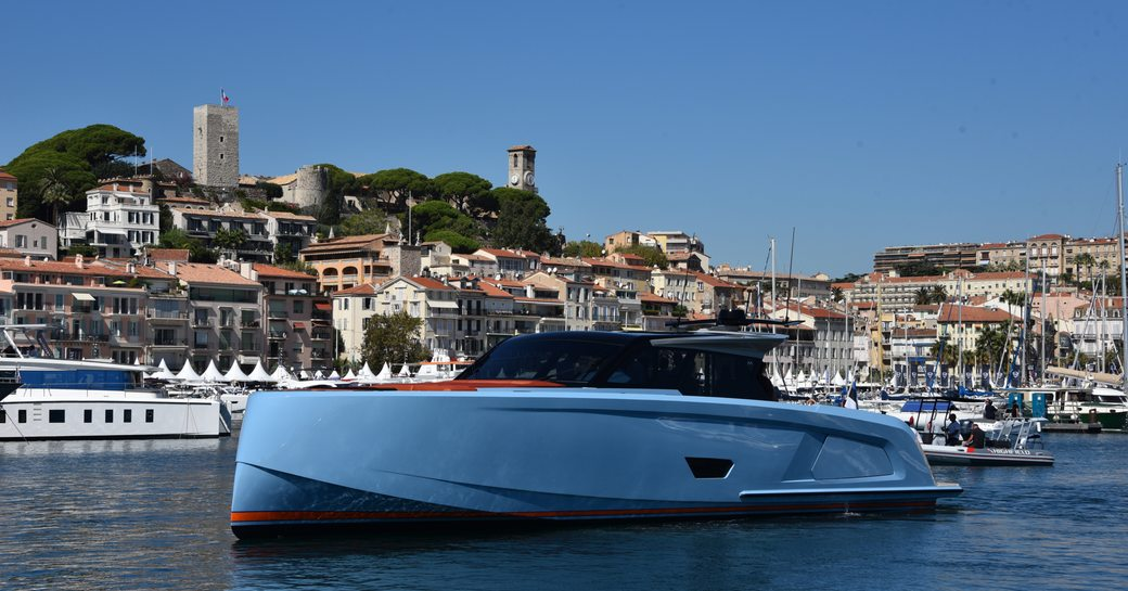 little blue tender on the water during cannes yachting festival 2019