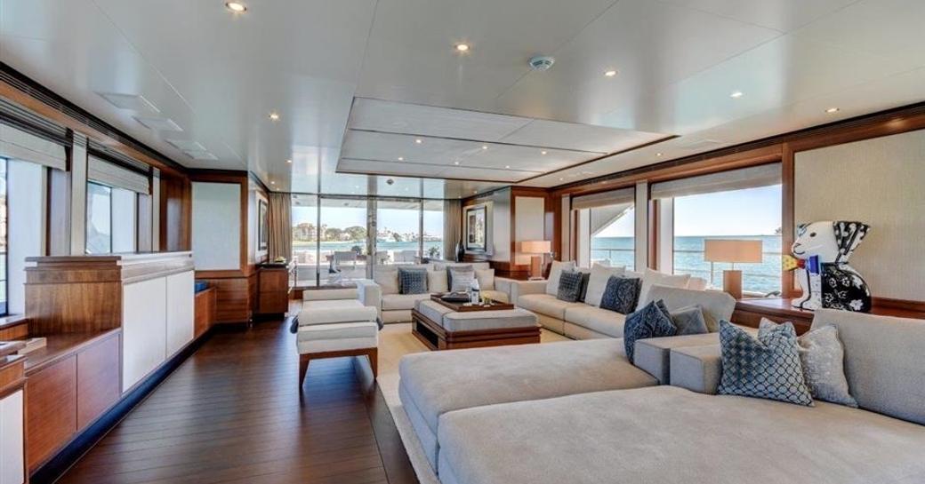 modern beach house style main salon aboard motor yacht Drew