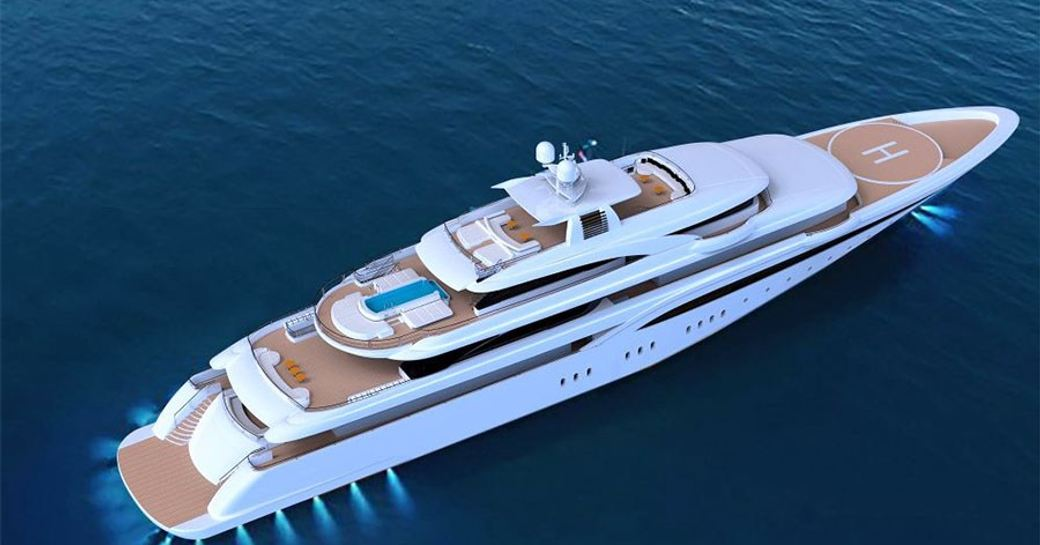 A graphic illustration of a superyacht as seen from above, with lights comes from beneath it